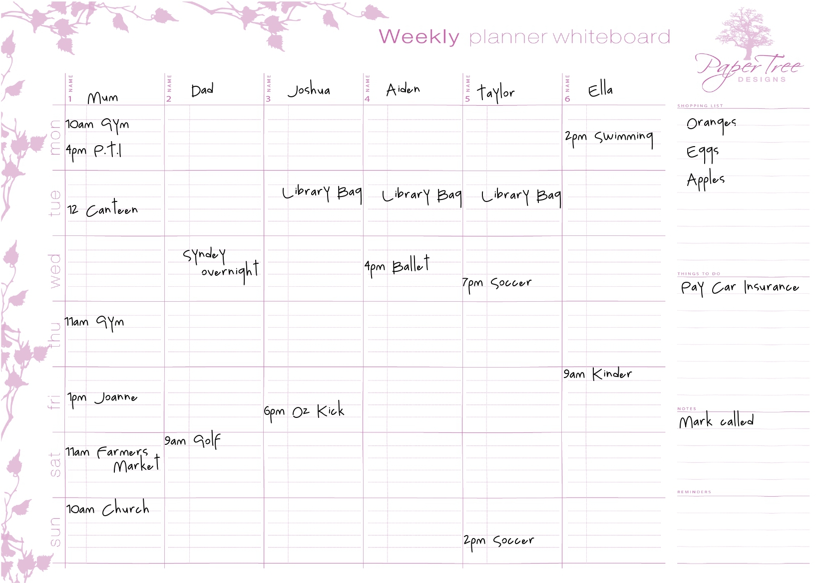 Paper tree designs weekly family planner my family for Planner design